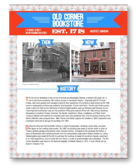 "Using QR codes at historic sites: Boston Redevelopment Authority ""This Building Has History"" QR code campaign during Preservation Month: Information on the Old Corner Bookstore"