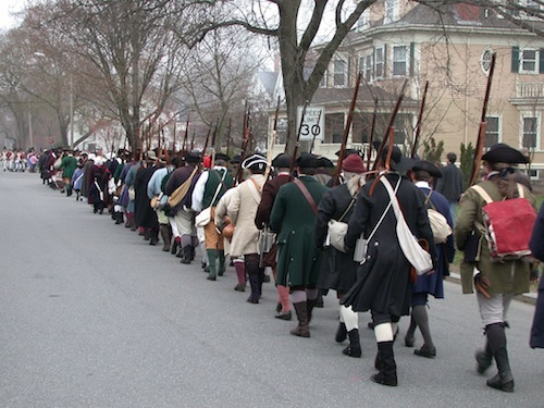 Marching from Lexington Gree to North Bridge on Patriots' Day