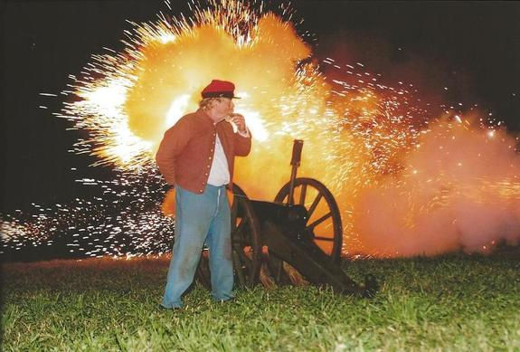 Spectacular firing of a cannon is a highlight during the Civil War Ball at Chase Farm Park