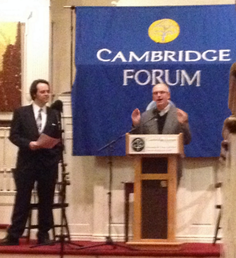 """Author John Bell with author Nathaniel Philbrick at the Cambridge Forum discussing """"Bunker Hill"""""""