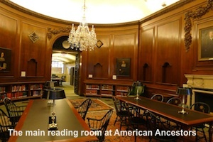 The main reading room at American Ancestors (formerly known as the New England Historic Genealogical Society)