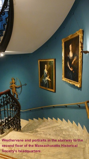 The Massachusetts Historical Society: Weathervane and portraits in the stairway to the second floor