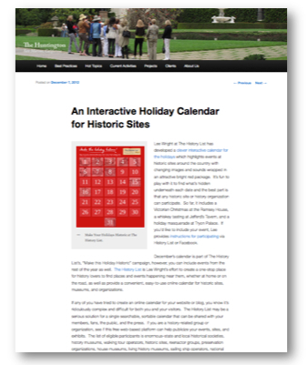 "Engaging Places blog post: ""An Interactive Holiday Calendar for Historic Sites"""