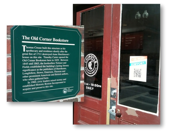 Using QR codes at historic sites: Traditional sign and QR code on The Old Corner Bookstore in Boston
