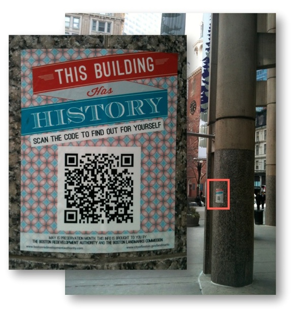 "Using QR codes at historic sites: Boston Redevelopment Authority ""This Building Has History"" QR code campaign during Preservation Month"
