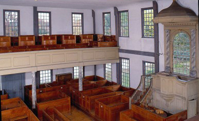 The interior of Rocky Hill Meeting House in Amesbury, Massachusetts