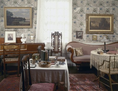 The parlor of Sarah Orne Jewett House in South Berwick, Maine