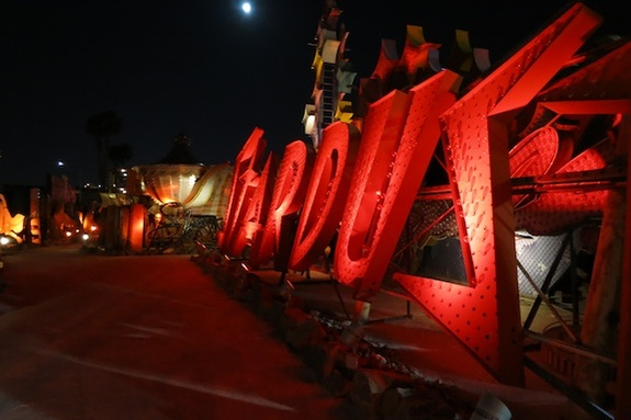 The Startdust sign on the Night Tour at the Neon Museum