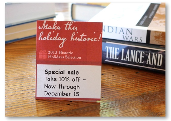 "Example of small sale sign for the ""Make this holiday historic!"" campaign"