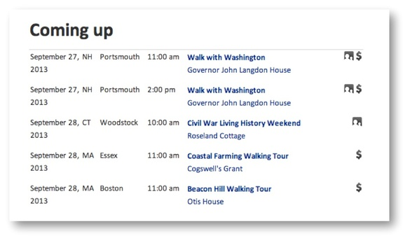 Events appear at the bottom of every organization and location page