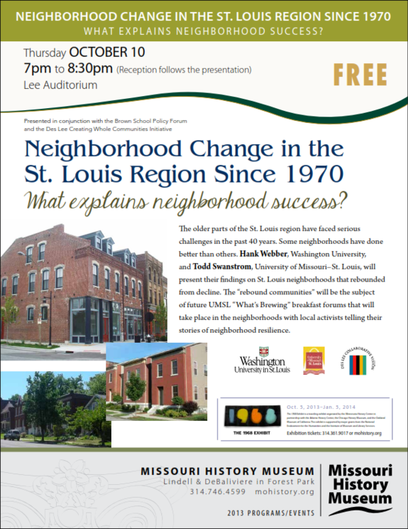 Neighborhood Change in the St. Louis Region Since 1970: What Explains Neighborhood Success?