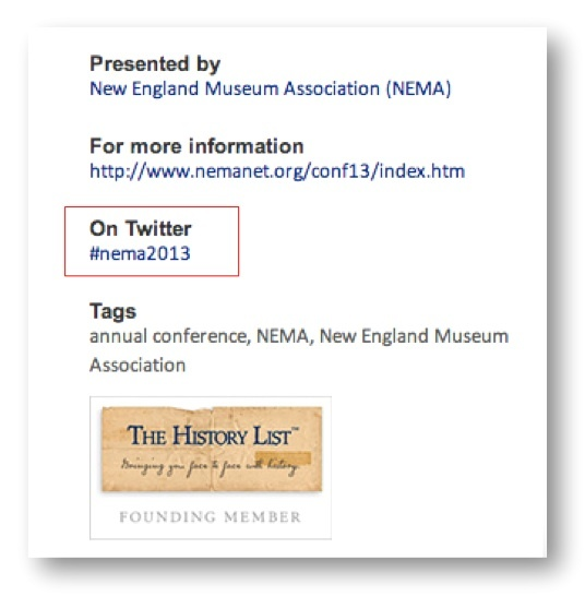 Using hashtags to promote your events on The History List