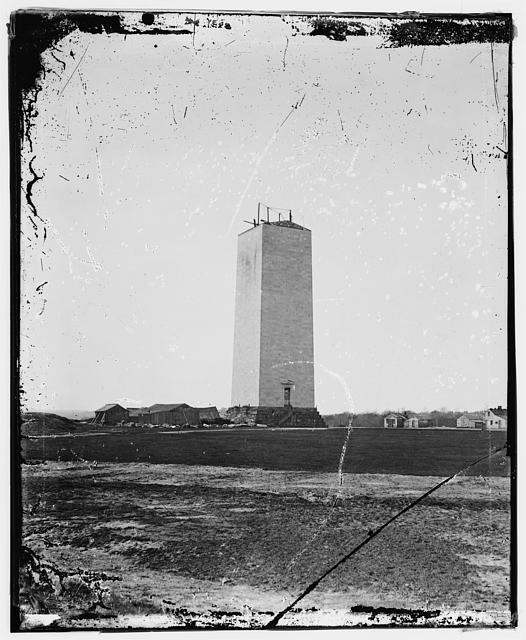 Matthew Brady's photograph of the partially completed Washington Monument. (Photo from theLibrary of Congress)