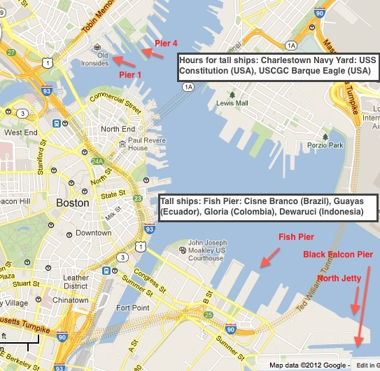 Boston Harborfest and OpSail 2012 pier locations and tall ship berths