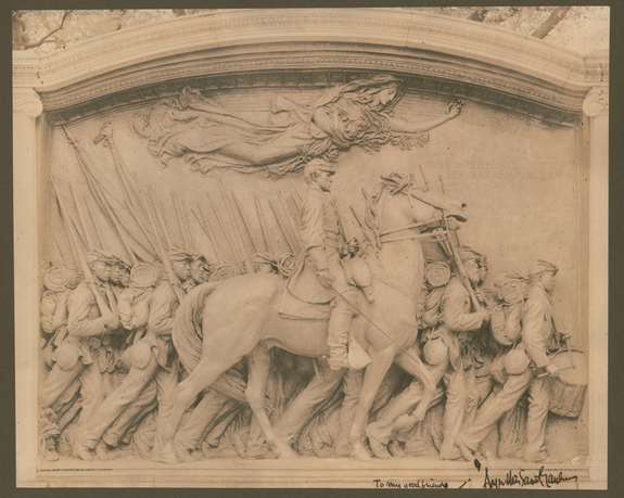 Robert Gould Shaw and the 54th Regiment Memorial, photomechanical, 1897, Massachusetts Historical Society