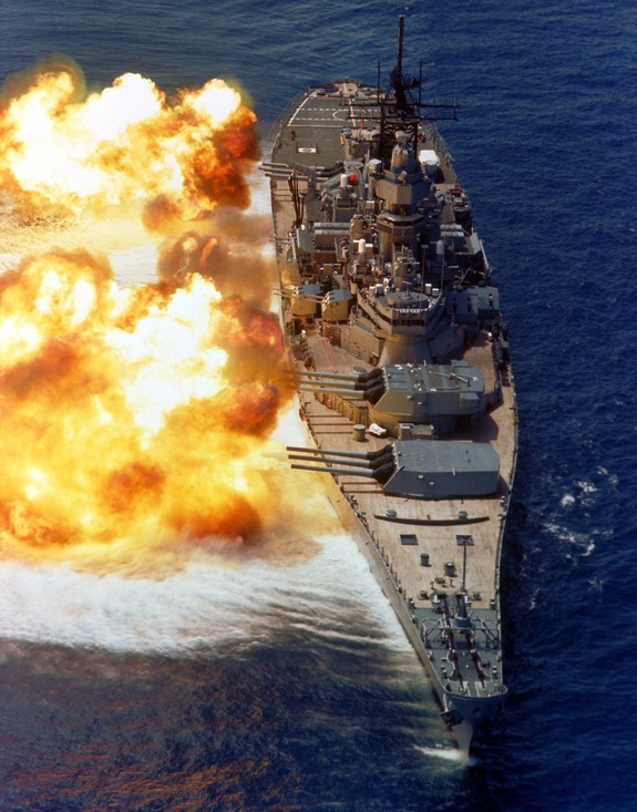 USS IOWA firing broadside, 1984.