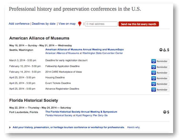 The largest list of history and preservation conferences in the US