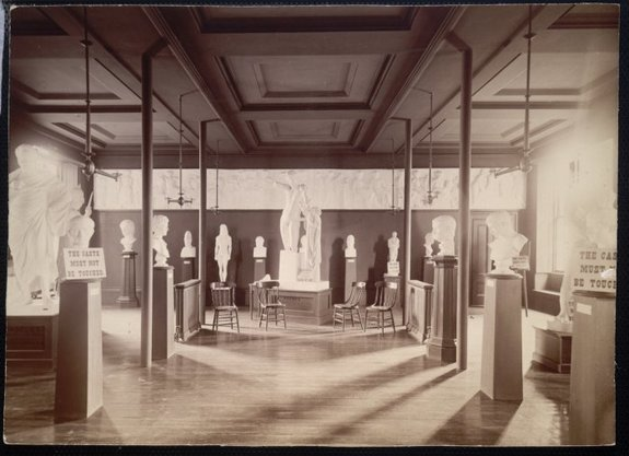 GALLERY OF CLASSICAL ANTIQUITIES, BROWN UNIVERSITY, ABOUT 1893. NO LONGER IN EXISTENCE. COLLECTIONS APPARENTLY LOST. COURTESY BROWN UNIVERSITY ARCHIVES.