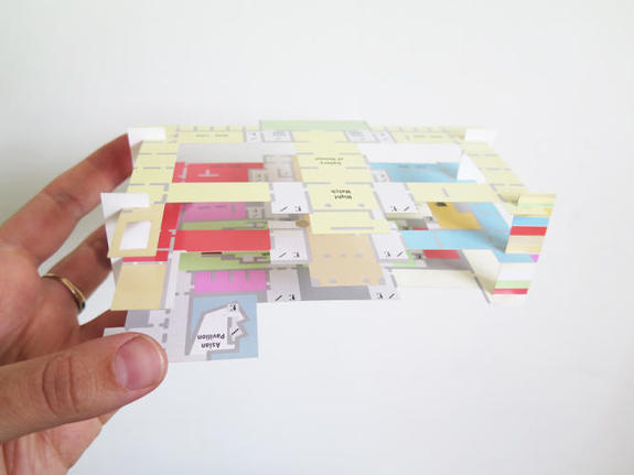 the Paper Pathfinder for the Rijksmuseum, a map that expands to show relationships between floors.