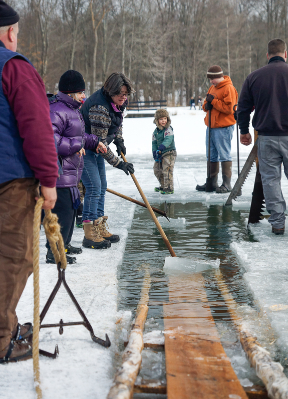 Take part in a traditional ice harvest, like communities did a century ago