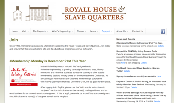 Royal House & Slave Quarters membership marketing for #MembershipMonday