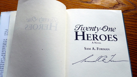 Signed copies of Twenty-One Heroes, a historical novel for young adults