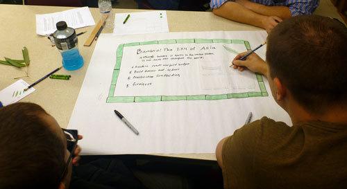staff writing label copy