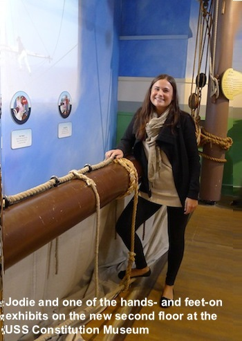 Jodie at one of the exhibits on the second floor of the USS Constitution Museum