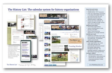 The History List is the calendar system for history organizations