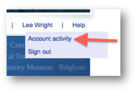"The link to your ""Account activity"" page appears after you sign in"