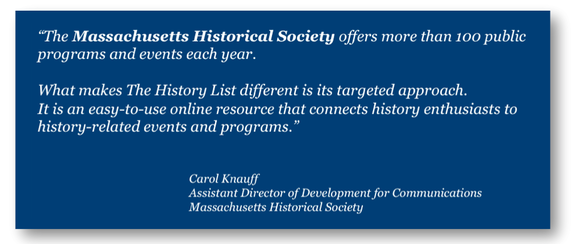 The Massachusetts Historical Society talking about The History List