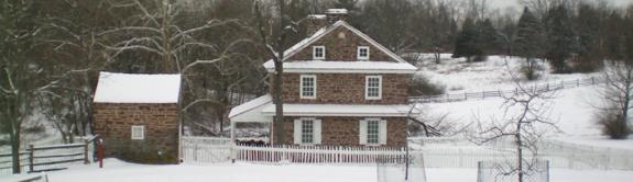 The Daniel Boone Homestead in winter